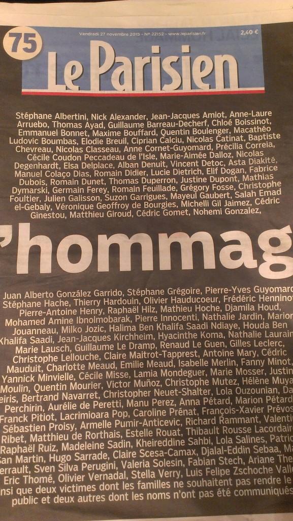 Homage to victims- Nov 13 2015, Paris